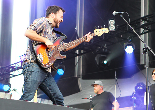 Zach Cooper of Coheed and Cambria plays on the Mercedes-Benz Evolution stage at the Rock in Rio USA music festival in Las Vegas on Saturday, May 9, 2015. (Chase Stevens/Las Vegas Review-Journal) F ...