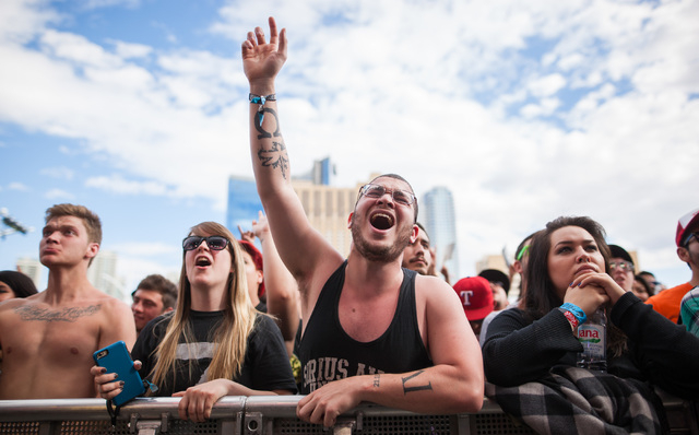 Fans cheer as Coheed and Cambria plays on the Mercedes-Benz Evolution stage at the Rock in Rio USA music festival in Las Vegas on Saturday, May 9, 2015. (Chase Stevens/Las Vegas Review-Journal) Fo ...