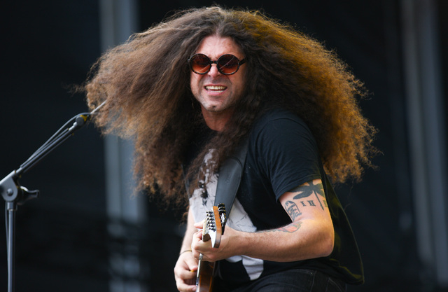 Claudio Sanchez of Coheed and Cambria plays on the Mercedes-Benz Evolution stage during the Rock in Rio USA music festival in Las Vegas on Saturday, May 9, 2015. (Chase Stevens/Las Vegas Review-Jo ...