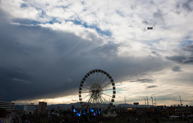 The ferris wheel is seen during the Rock in Rio USA music festival in Las Vegas on Saturday, May 9, 2015. (Chase Stevens/Las Vegas Review-Journal) Follow Chase Stevens on Twitter @csstevensphoto