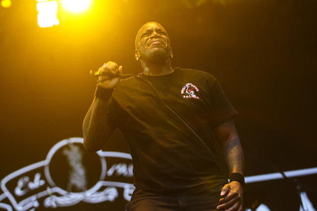 Derrick Green of Sepultura performs on the Mercedes-Benz Evolution stage during the Rock in Rio USA music festival in Las Vegas on Saturday, May 9, 2015. (Chase Stevens/Las Vegas Review-Journal) F ...