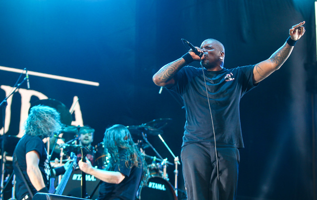 Sepultura performs on the Mercedes-Benz Evolution stage during the Rock in Rio USA music festival in Las Vegas on Saturday, May 9, 2015. (Chase Stevens/Las Vegas Review-Journal) Follow Chase Steve ...