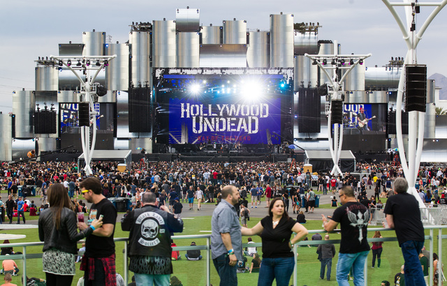 Hollywood Undead performs at the main stage at the Rock in Rio USA music festival in Las Vegas on Saturday, May 9, 2015. (Chase Stevens/Las Vegas Review-Journal) Follow Chase Stevens on Twitter @c ...