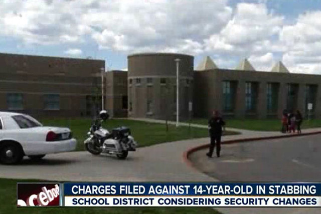 A 14-year-old boy on Monday,May 4, 2015, was charged with attempted first-degree murder and other charges after a 14-year-old girl was stabbed last week at a Denver-area elementary school. (Screen ...