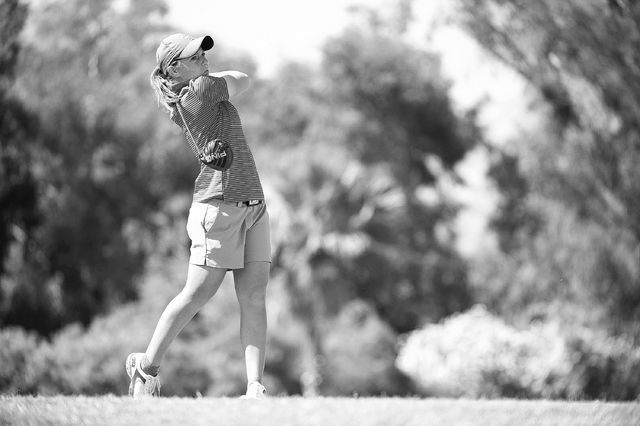 22 APR 2015: Athletes compete during the 2015 Mountain West Conference Women's Golf Championship held at the Mission Hills Country Club in Rancho Mirage, CA. Brett Wilhelm/NCAA Photos