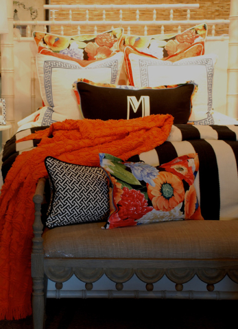 Tribune News Service When we design custom bedding ensembles, we always start with a fabric we are gaga about. Right now, I'm obsessed with this orange and navy poppy floral.