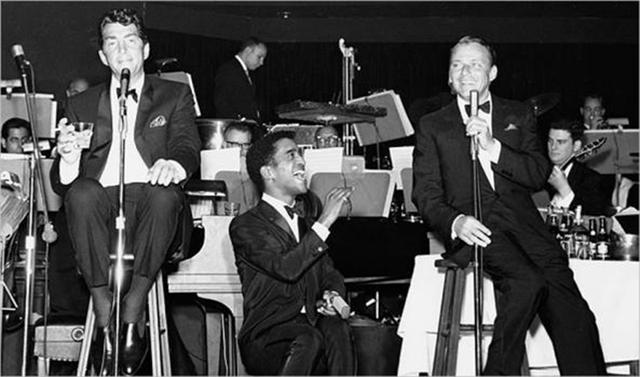 Dean Martin, Sammy Davis Jr. and Frank Sinatra at the Copa Room in an undated picture. (Las Vegas News Bureau)