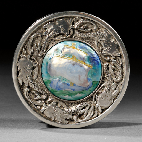 Cowles Syndicate Inc Mildred Watkins, a well-known Cleveland enamelist, made this sterling silver box set with the enameled picture of a ship. It sold at a 2015 Skinner auction in Boston for the u ...