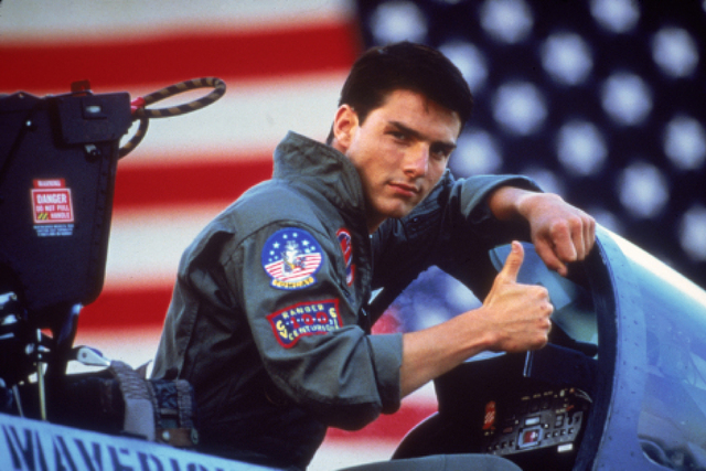 """In this film publicity image released by Paramount Pictures, Tom Cruise is shown in a promotional image for the 1986 film, """"Top Gun."""" (Paramount Pictures)"""