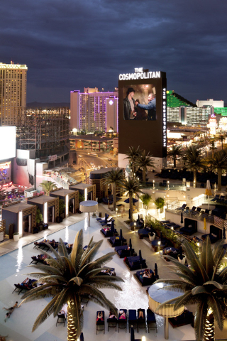 Movies are shown each Monday on the 65-foot digital marquee at the Boulevard Pool at The Cosmopolitan of Las Vegas. (Courtesy photo)