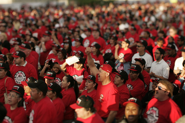 Members and supporters of the Culinary Workers Union, Local 226, cheer during a rally in the union's parking lot Friday, March 23, 2007, in Las Vegas. The Nevada Department of Transportation told  ...