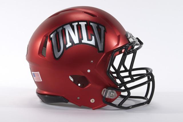 UNLV football helmets for the 2015 season on April 21, 2015. (R. Marsh Starks / UNLV Photo Services)