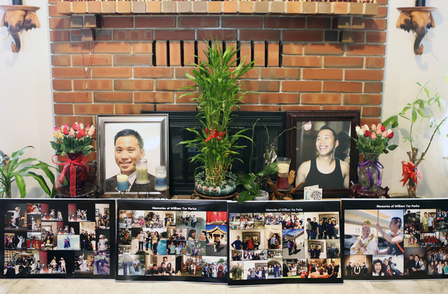 Photos of William Parke are displayed at his mother Grace Aye's house in Las Vegas, Wednesday, April 22, 2015. Parke was a celebrity dancer in his native Burma before moving to Las Vegas in 2005.  ...