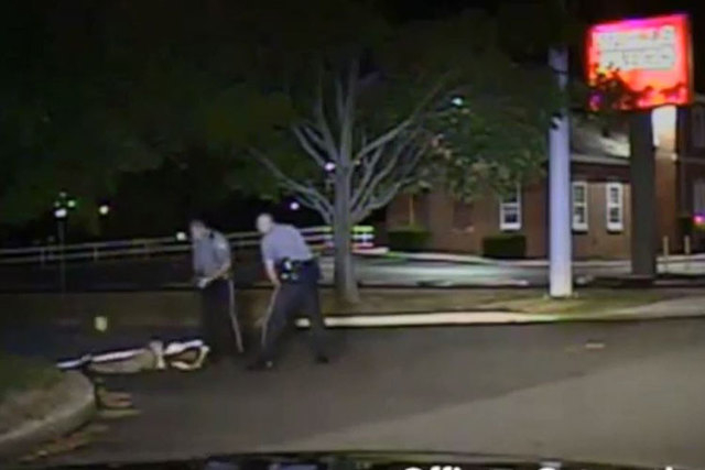 Police in Delaware have released video from a 2013 incident showing a black suspect being kicked in the face by a white officer who has been charged with assault. (Screengrab/NY Daily News)