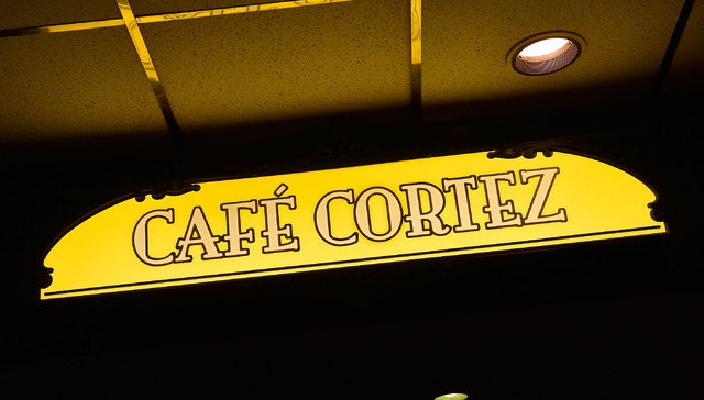 Front signage is shown at Cafe Cortez in the El Cortez May 4, 2015. (David Becker/View)