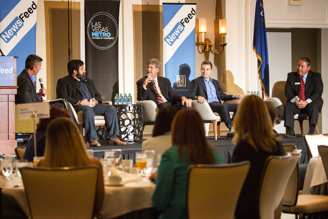 Glenn Cook, left, senior editorial writer for the Las Vegas Review-Journal, moderates a Newsfeed panel discussion on unmanned aerial vehicles with Jon Daniels, president of Praxis Aerospace Concep ...