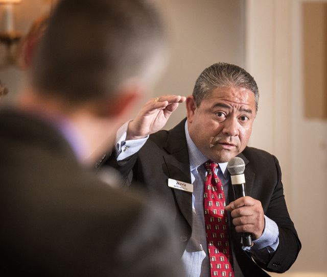Mario Mairena, senior government relations manager for the Association for Unmanned Aerial Vehicle Systems International speak during a Newsfeed panel discussion on unmanned aerial vehicles at the ...