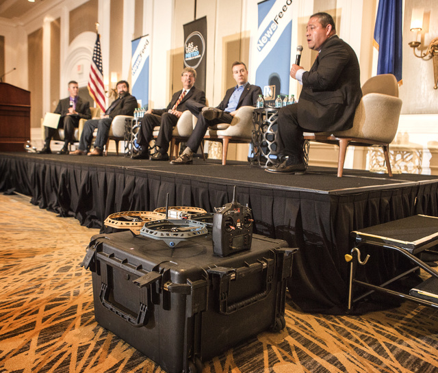 Mario Mairena, right, senior government relations manager for the Association for Unmanned Aerial Vehicle Systems International speaks during a Newsfeed panel discussion on unmanned aerial vehicle ...