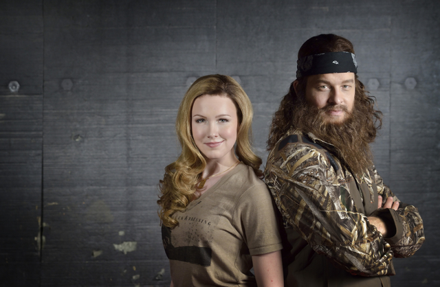 """Ginna Claire Mason, left, and Ben Thompson are shown in a rehearsal space for """"Duck Commander Musical"""" at the Rio, 3700 W. Flamingo Road, in Las Vegas on Tuesday, March 31, 2015. Thompson plays """"D ..."""