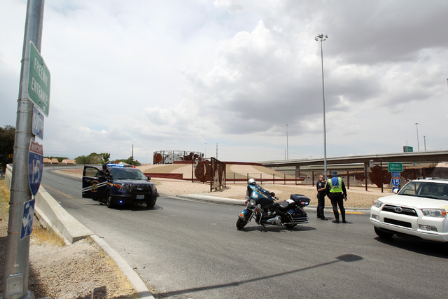 Nevada Highway Patrol troopers closes the Martin Luther King Boulevard on-ramp to southbound Interstate 15 on Friday, May 22, 2015. A 4.8-magnitude earthquake shook Las Vegas and surrounding areas ...