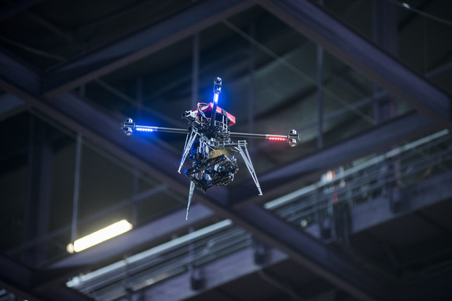 The Cinestar X8 drone hovers above the Orleans Arena during a practice run before the Geico Endurocross Race inside the Orleans Arena in Las Vegas on Friday, May 1, 2015. (Martin S. Fuentes/Las Ve ...