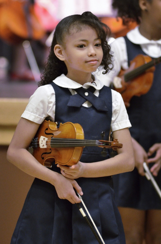 Rainbow Dreams Academy fourthgrader Alaya Hermon takes part in a recital April 11 at the Historic Fifth Street School. (Bill Hughes/View)