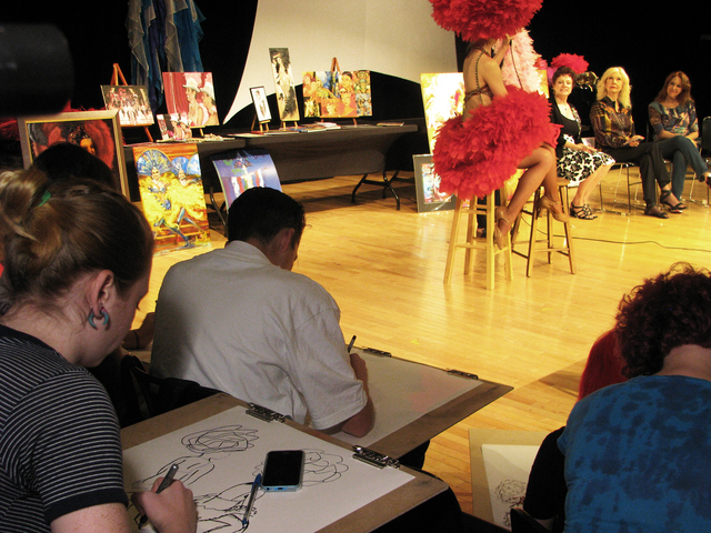 Students sketch retired showgirl Cathy Colbert May 1 at the Las Vegas Academy of the Arts during the annual Showgirl Art Presentation. (F. Andrew Taylor/View)