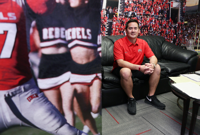 Jimmy Morimoto, director of player personnel and assistant recruiting coordinator for UNLV football, sits in his office near walls covered in university athletic photos at UNLV Friday, May 15, 201 ...