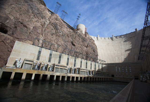 Hoover Dam as seen Thursday, March 20, 2014. Projections from the U.S. Bureau of Reclamation indicate Lake Mead could fall low enough next year to reduce power generation and shut down one of the  ...