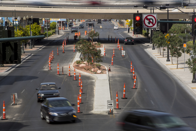 Motorists navigate through cones and markers near a construction zone on Main Street in downtown Las Vegas on Sunday, May 17, 2015. (Joshua Dahl/Las Vegas Review-Journal)