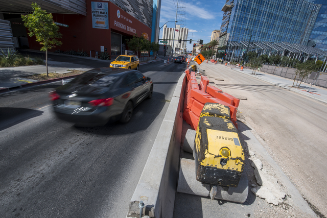 Machinery rests near a construction zone on Main Street in downtown Las Vegas causing traffic congestion on Sunday, May 17, 2015. (Joshua Dahl/Las Vegas Review-Journal)