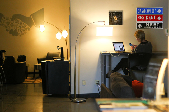 Katrina Fadda works in an open office space at Work in Progress, 317 6th St., in downtown Las Vegas on Tuesday, May 5, 2015. Work in Progress offers work stations and and startup services for indi ...