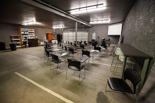 """""""The Garage"""" work space is seen at Work in Progress, 317 6th St., in downtown Las Vegas on Tuesday, May 5, 2015. Work in Progress offers work stations and and startup services for indivi ..."""