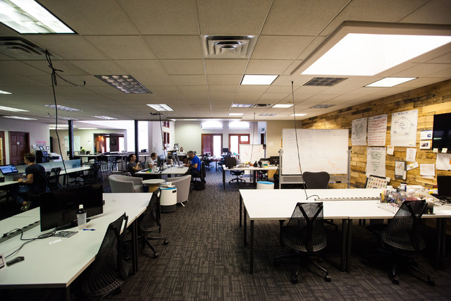 People work in open office spaces at Work in Progress, 317 6th St., in downtown Las Vegas on Tuesday, May 5, 2015. Work in Progress offers work stations and and startup services for individuals an ...