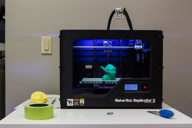 "A 3D printout of ""Star Wars"" character Yoda is seen at Work in Progress, 317 6th St., in downtown Las Vegas on Tuesday, May 5, 2015. Work in Progress offers work stations and and startup ..."