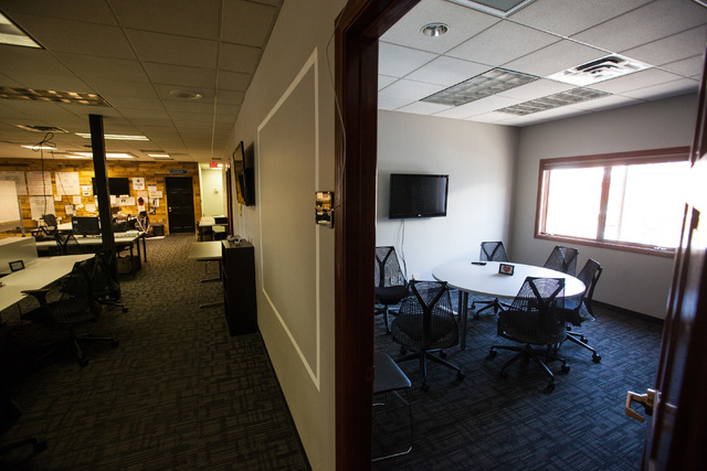 A meeting room is seen, right, off of an open office work space at Work in Progress, 317 6th St., in downtown Las Vegas on Tuesday, May 5, 2015. Work in Progress offers work stations and and start ...