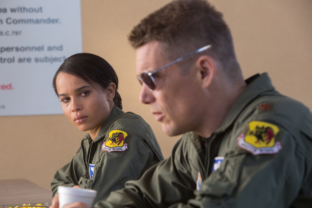 Zoe Kravitz (Vera Suarez) and Ethan Hawke (Tom Egan) in Andrew Niccol's GOOD KILL.  Courtesy of Lorey Sebastian.  (C) 2014 Clear Skies Nevada LLC. An IFC Films release.