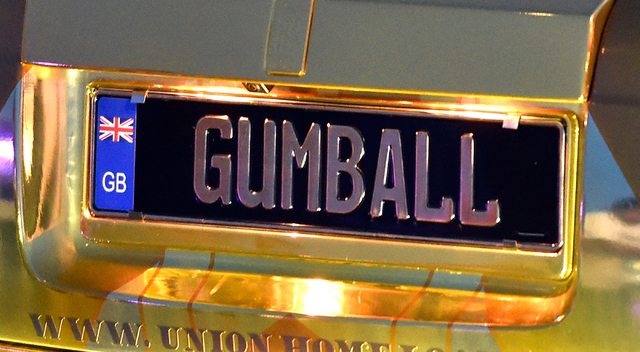 The license plate of a participating vehicle is seen as it arrives at the end of the 17th annual Gumball 3000 rally at the MGM Resorts Village on Friday, May 29, 2015. One hundred vehicles partici ...