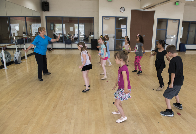Dance instructor Lori Day, left, teaches her students how to tap dance at the Whitney Ranch Recreation Center in Henderson, Nev., on Thursday, April 23, 2015. (Martin S. Fuentes/Las Vegas Review-J ...