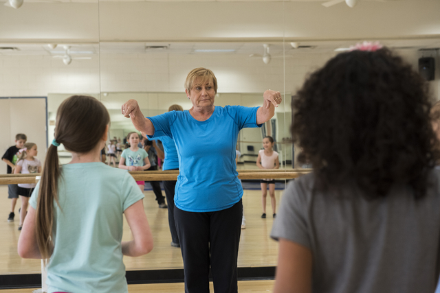Dance instructor Lori Day, center, teaches her students how to tap dance at the Whitney Ranch Recreation Center in Henderson, Nev., on Thursday, April 23, 2015. (Martin S. Fuentes/Las Vegas Review ...