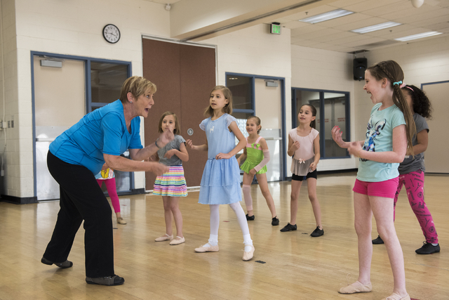 Dance instructor Lori Day, left, teaches her students, from left, Emmalina Spencer, 6, Kaylynn Spencer, 8, Julia Gardineer, 6, Aliana Gardineer, 8, and Alaina Michaelson, 8, how to tap dance at th ...