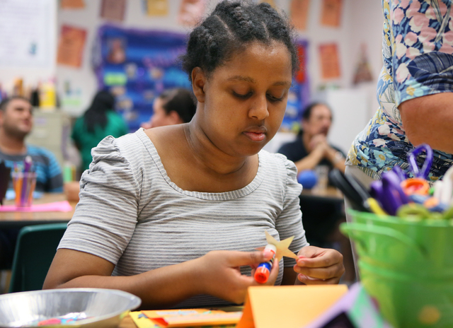 Yemheret Semegne makes a greeting card in Lisa Cipriano's special education class at Silverado High School Wednesday, May 13, 2015, in Henderson. All proceeds from the cards, which are sold at sch ...