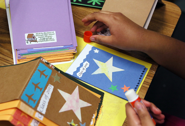 Yemheret Semegne works on a greeting card in Lisa Cipriano's special education class at Silverado High School Wednesday, May 13, 2015, in Henderson. All proceeds from the cards, which are sold at  ...