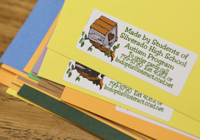 Stickers are shown on the back of greeting cards that are made in Lisa Cipriano's special education class at Silverado High School Wednesday, May 13, 2015, in Henderson. All proceeds from the card ...