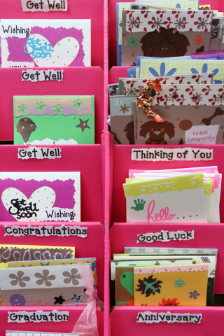 Greeting cards made by special education students are shown in Lisa Cipriano's classroom at Silverado High School Wednesday, May 13, 2015, in Henderson. All proceeds from the cards, which are sold ...
