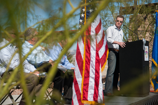 Councilman Sam Bateman, right, speaks during the grand opening for Horizon Crest Park in Henderson, Saturday, April 5, 2014. Attending from left, Southern Nevada Water Authority general manager Ji ...