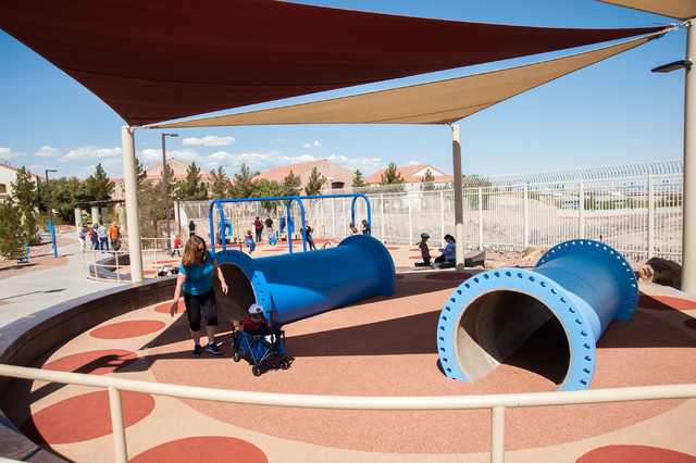 Citizens enjoy the new park facilities during the grand opening for Horizon Crest Park in Henderson, Saturday, April 5, 2014. (Martin S. Fuentes/Las Vegas Review-Journal)