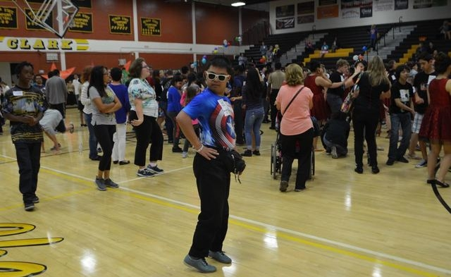 Bonanza High School student Josh Pastrana dances at a community hero-themed dance for special education students at Clark High School. (Ginger Meurer/Special to View)