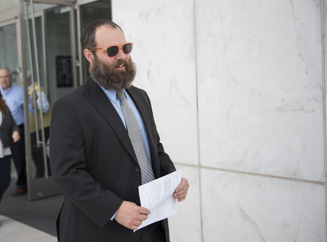 Defendant Brian Jones who is being sentenced in the HOA fraud scheme is seen outside the Lloyd George Federal Courthouse in Las Vegas on Wednesday, May 20, 2015. (Martin S. Fuentes/Las Vegas Revie ...