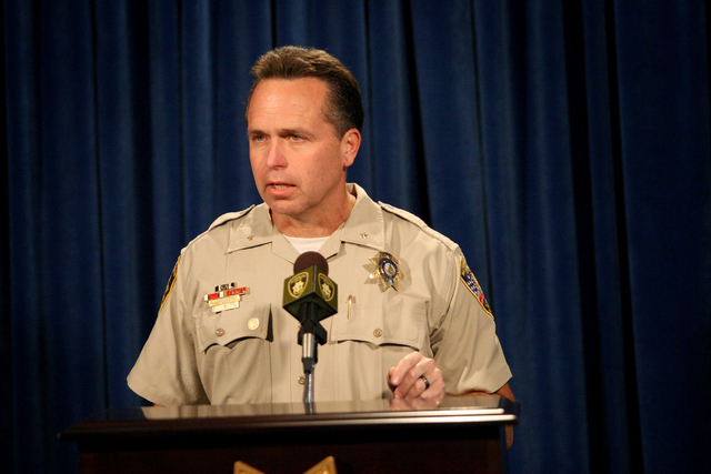 """Deputy Chief Thomas Roberts from the Las Vegas Metropolitan Police Department discusses homicide statistics during a press conference to ask the community for it's help during the """"Season of  ..."""